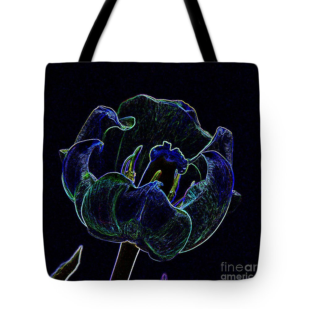 Funky Tote Bag featuring the photograph Tulip Glowing In The Moonlight by Renee Trenholm