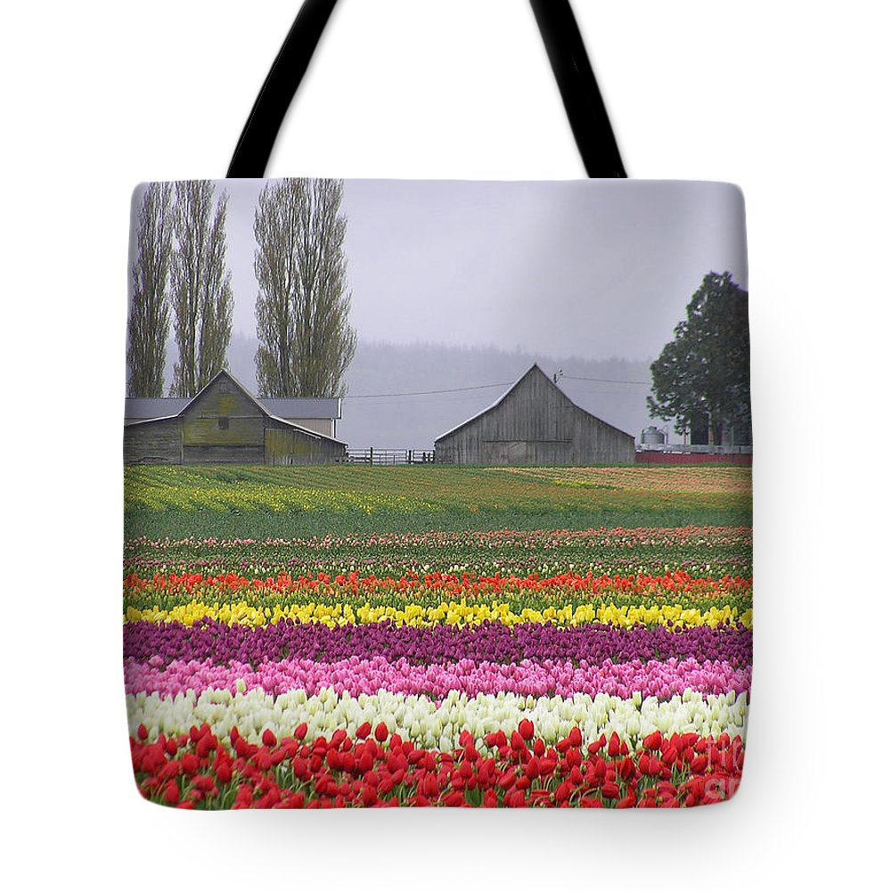 Tulips Tote Bag featuring the photograph Tulip Town Barns by Louise Magno
