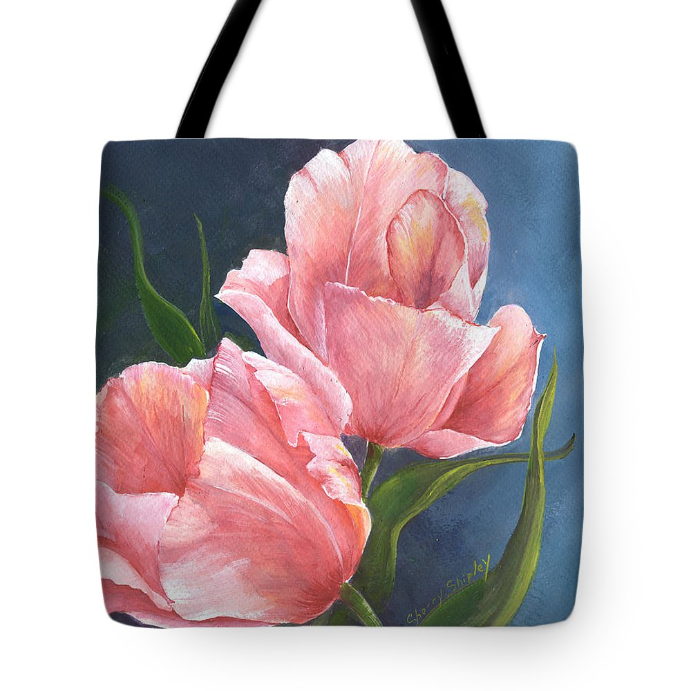 Tulip Tote Bag featuring the painting Tulip Waltz by Sherry Shipley