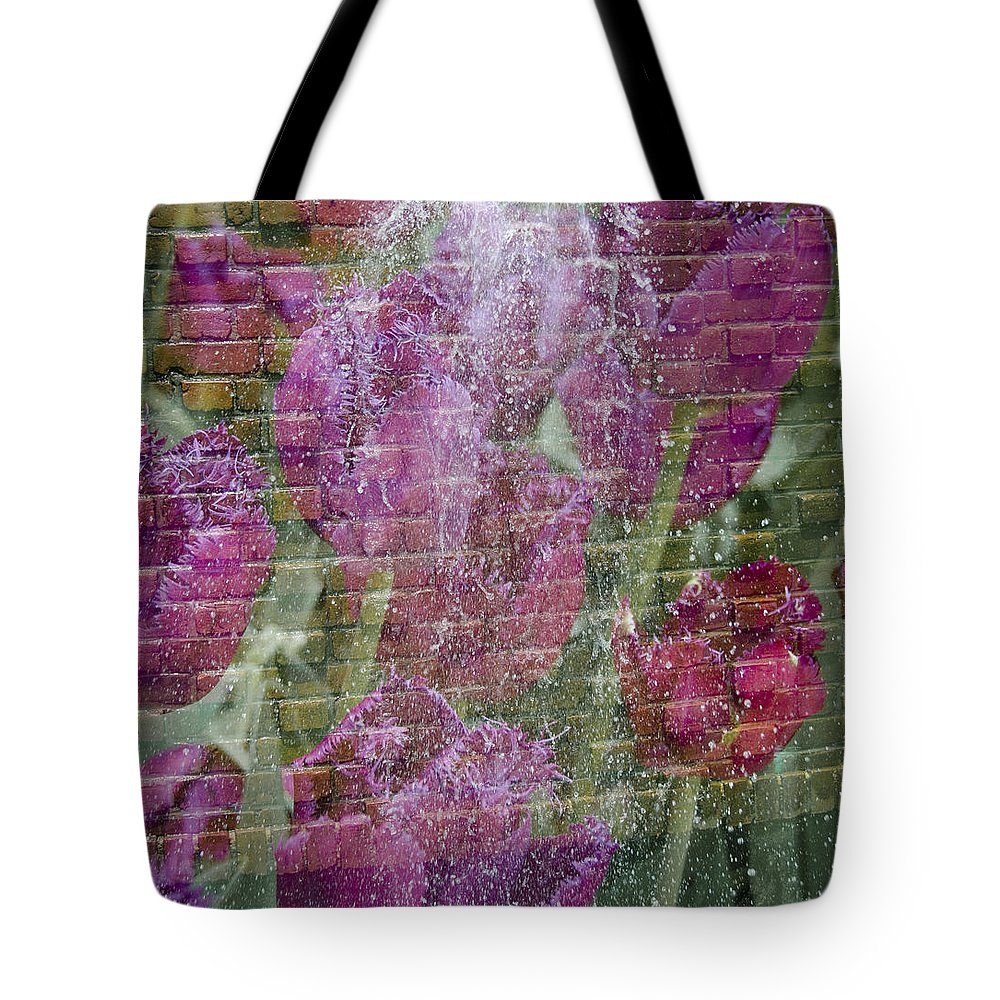 Flowers Tote Bag featuring the photograph Tulip Waterfalls by Penny Lisowski
