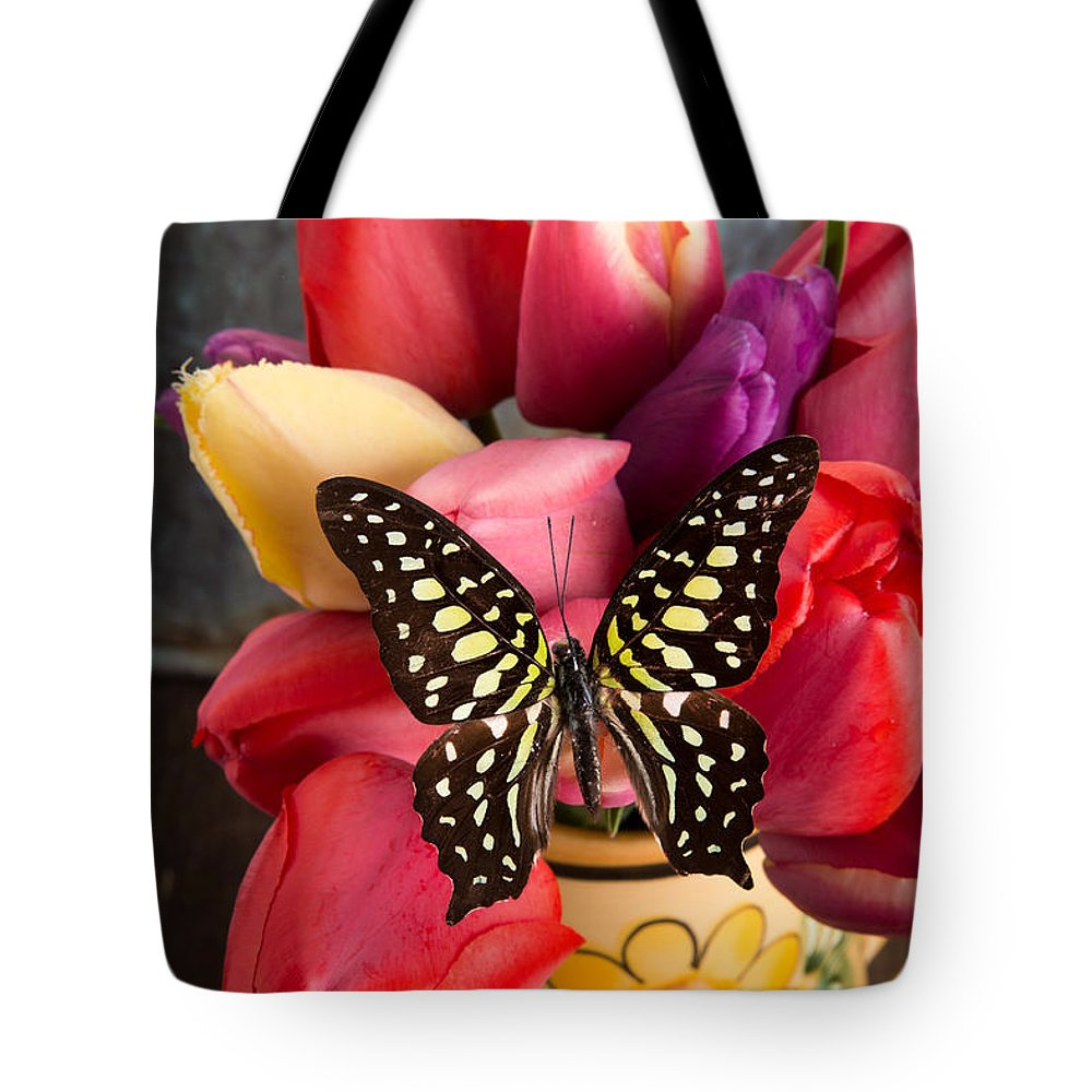 Bloom Tote Bag featuring the photograph Tulips And Butterflies by Edward Fielding