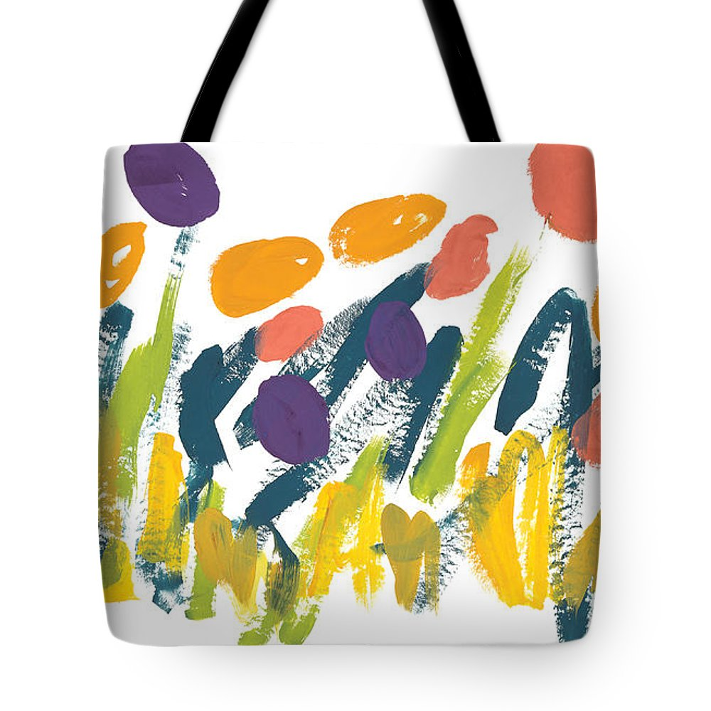 Contemporary Tote Bag featuring the painting Tulips by Bjorn Sjogren