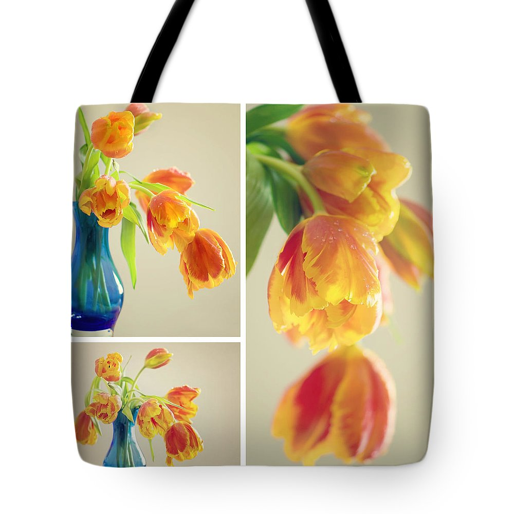 Tulpe Tote Bag featuring the pyrography Tulips Collage by Steffen Gierok
