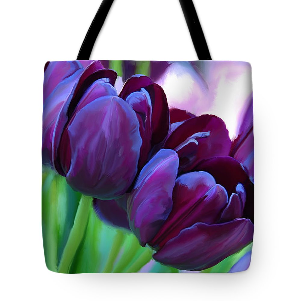 tulips dark purple tote bag for sale by tim gilliland
