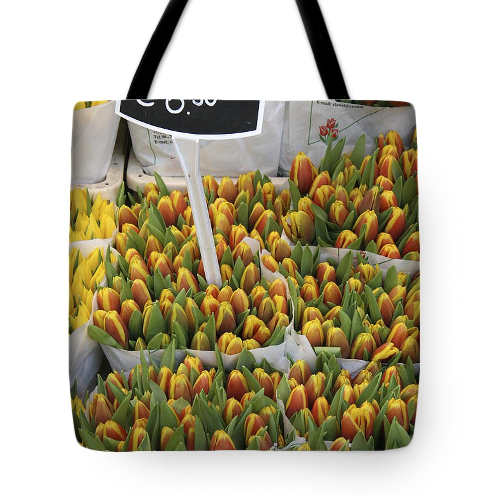 Yellow Tote Bag featuring the photograph Tulips For Sale In Market, Close Up by Mark Thomas