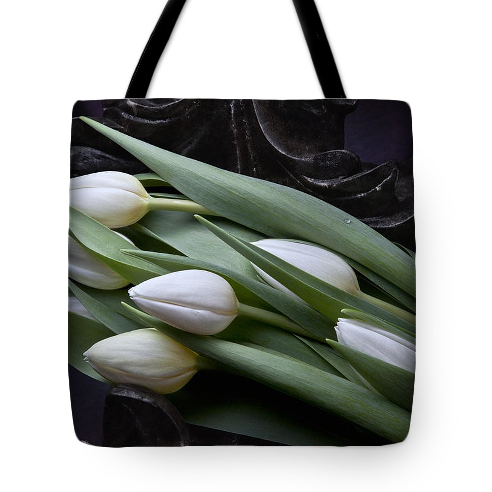 Arrangement Tote Bag featuring the photograph Tulips Laying In Wait by Tom Mc Nemar