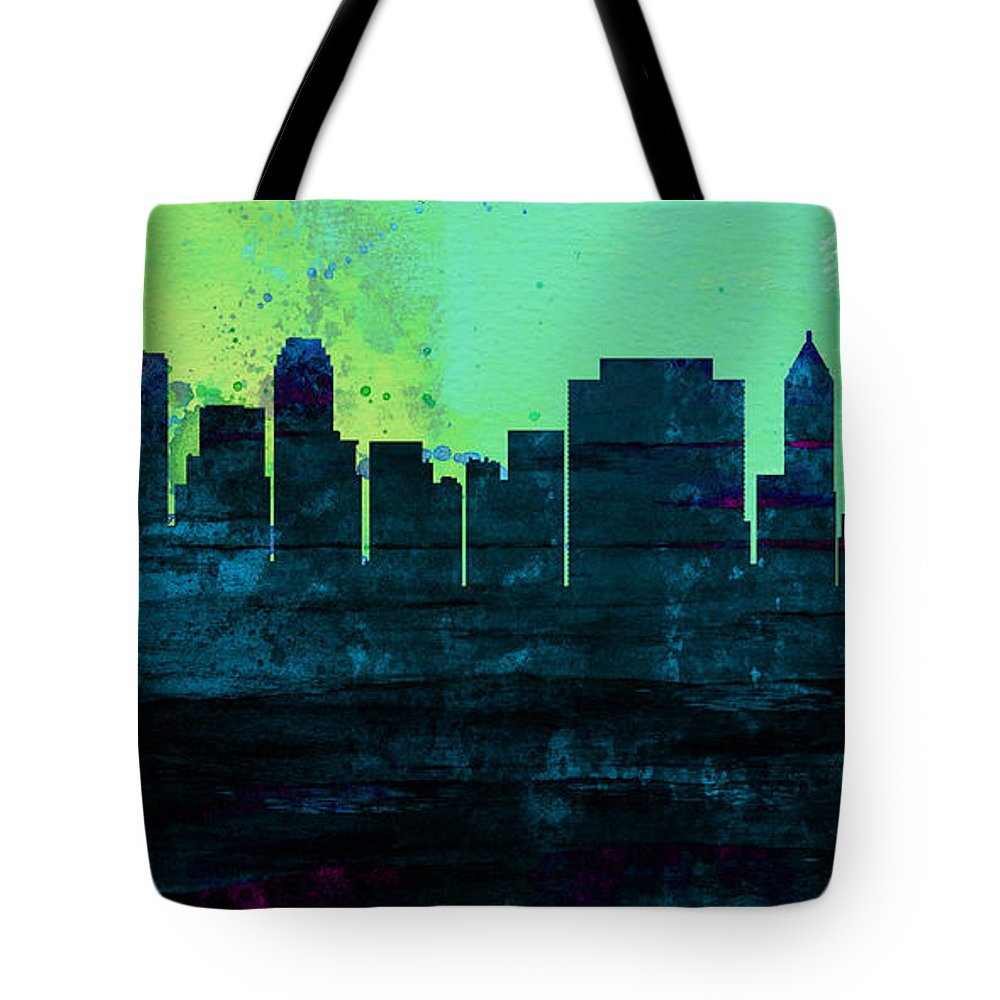 Tulsa Tote Bag featuring the painting Tulsa City Skyline by Naxart Studio