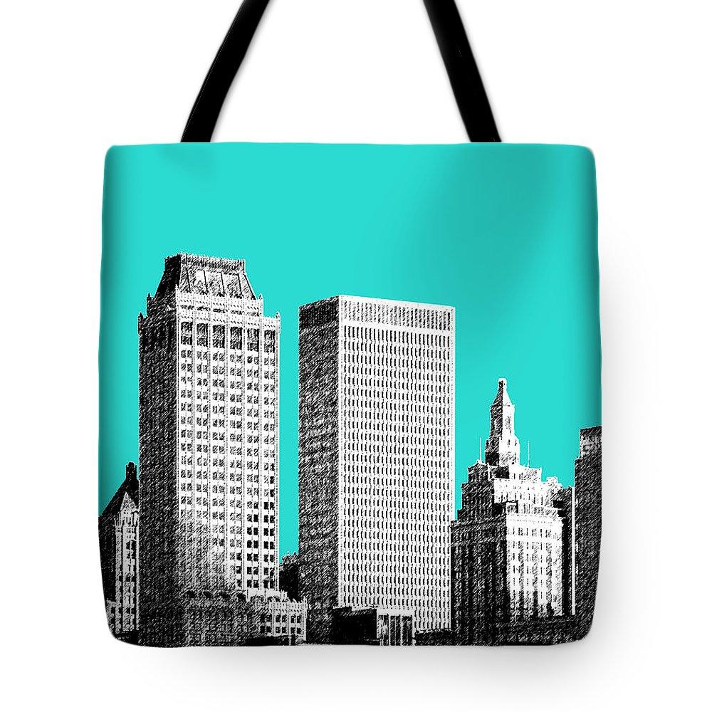 Architecture Tote Bag featuring the digital art Tulsa Skyline - Aqua by DB Artist
