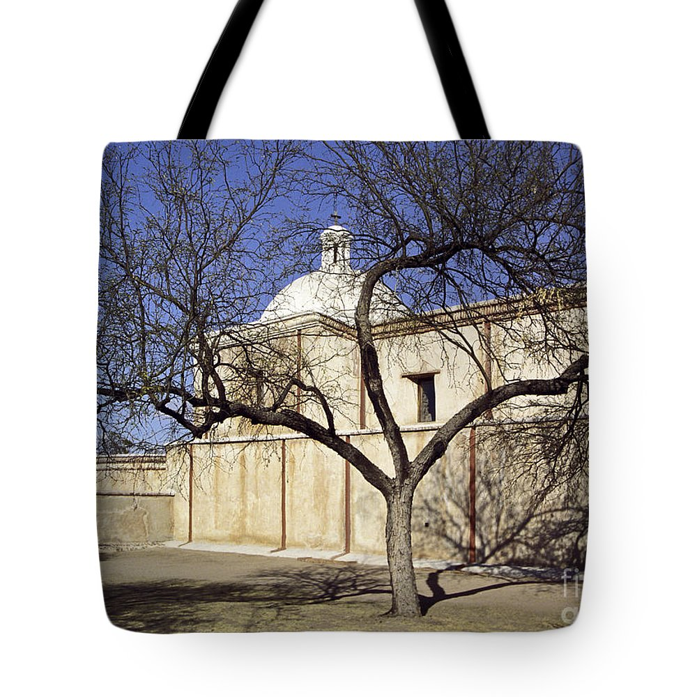 Mission Tote Bag featuring the photograph Tumacacori With Tree by Kathy McClure