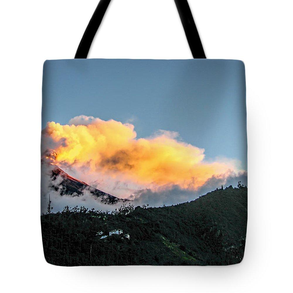 Tungurahua Tote Bag featuring the photograph Tungurahua Blowing Off Steam by Eleanor Abramson