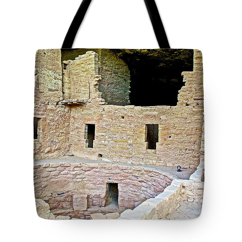 Tunnel Opening In Kiva Of Spruce Tree House On Chapin Mesa In Mesa Verde National Park Tote Bag featuring the photograph Tunnel Opening In Kiva Of Spruce Tree House On Chapin Mesa In Mesa Verde National Park-colorado by Ruth Hager