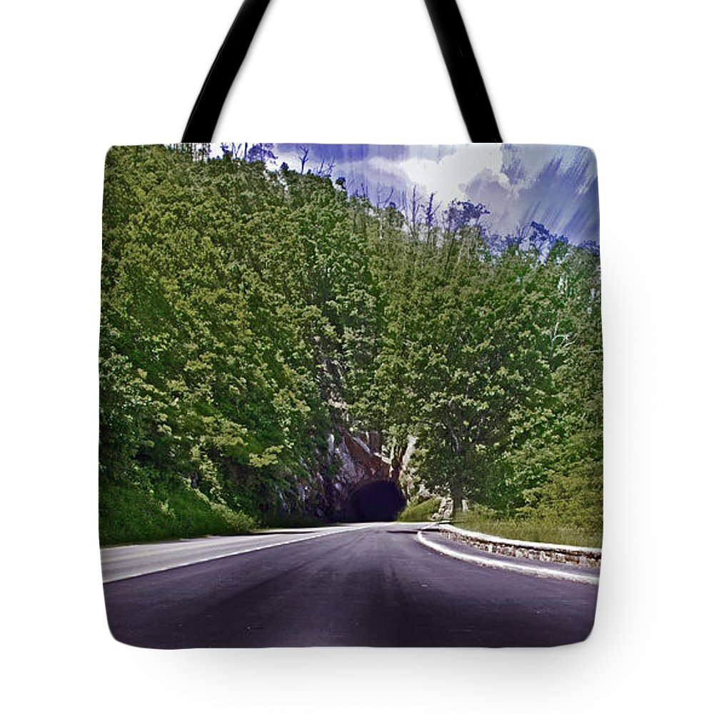 Nature Tote Bag featuring the photograph Tunnel Thru The Mountain by Tom Gari Gallery-Three-Photography