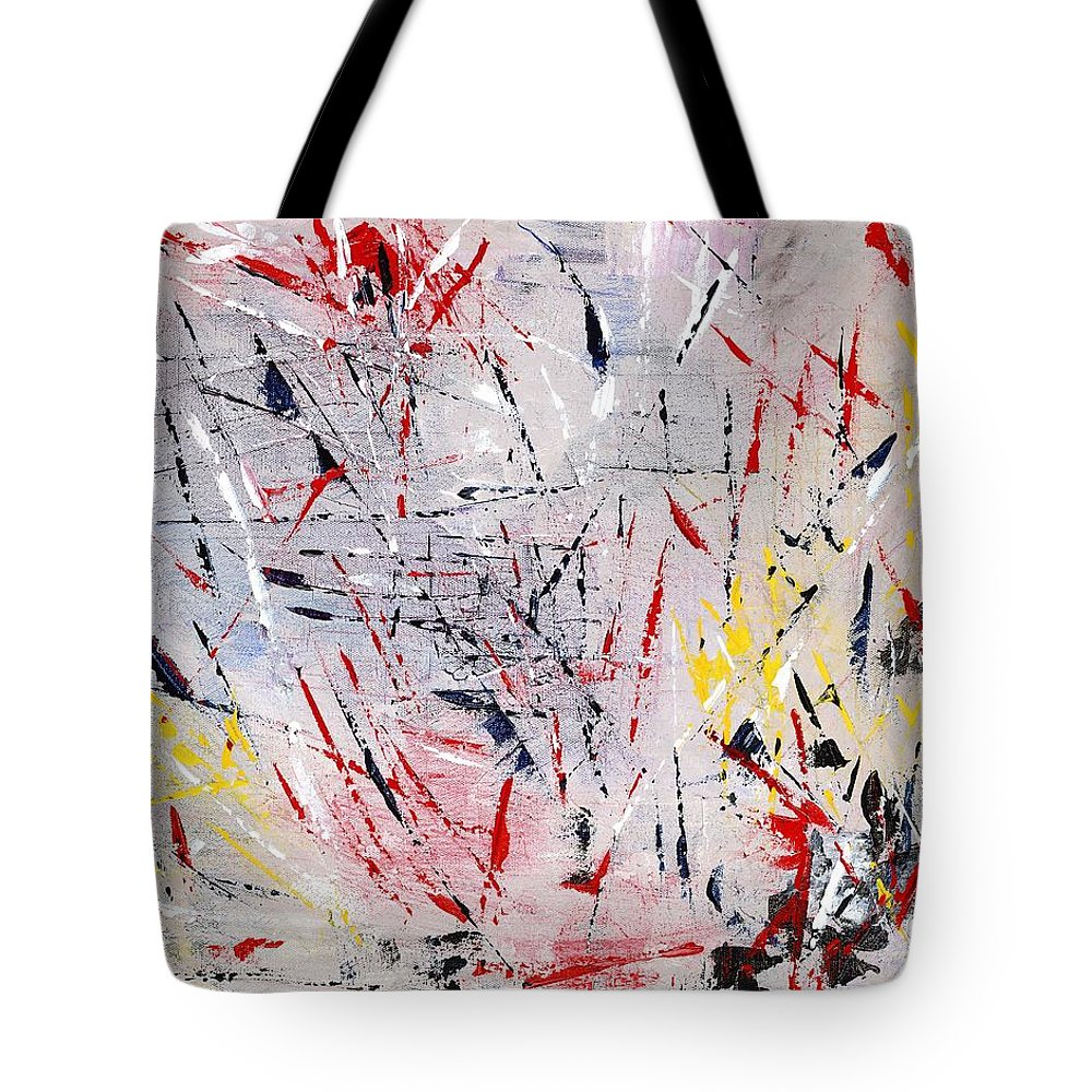 Abstract Tote Bag featuring the painting Turbulence by Linda Wimberly