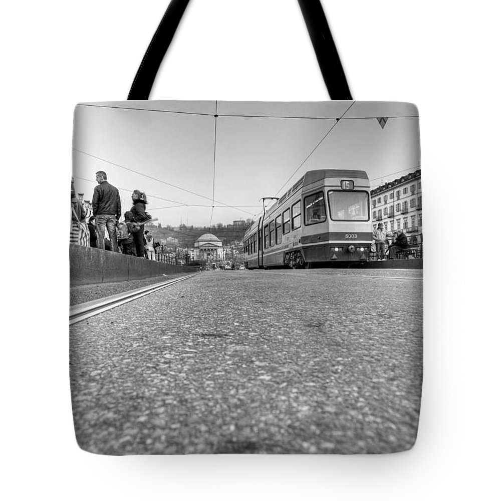 B&w Tote Bag featuring the photograph Turin Trolley by Sonny Marcyan