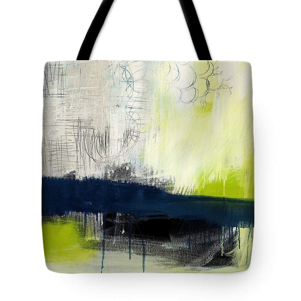 Blue Abstract Painting Tote Bag featuring the painting Turning Point - contemporary abstract painting by Linda Woods