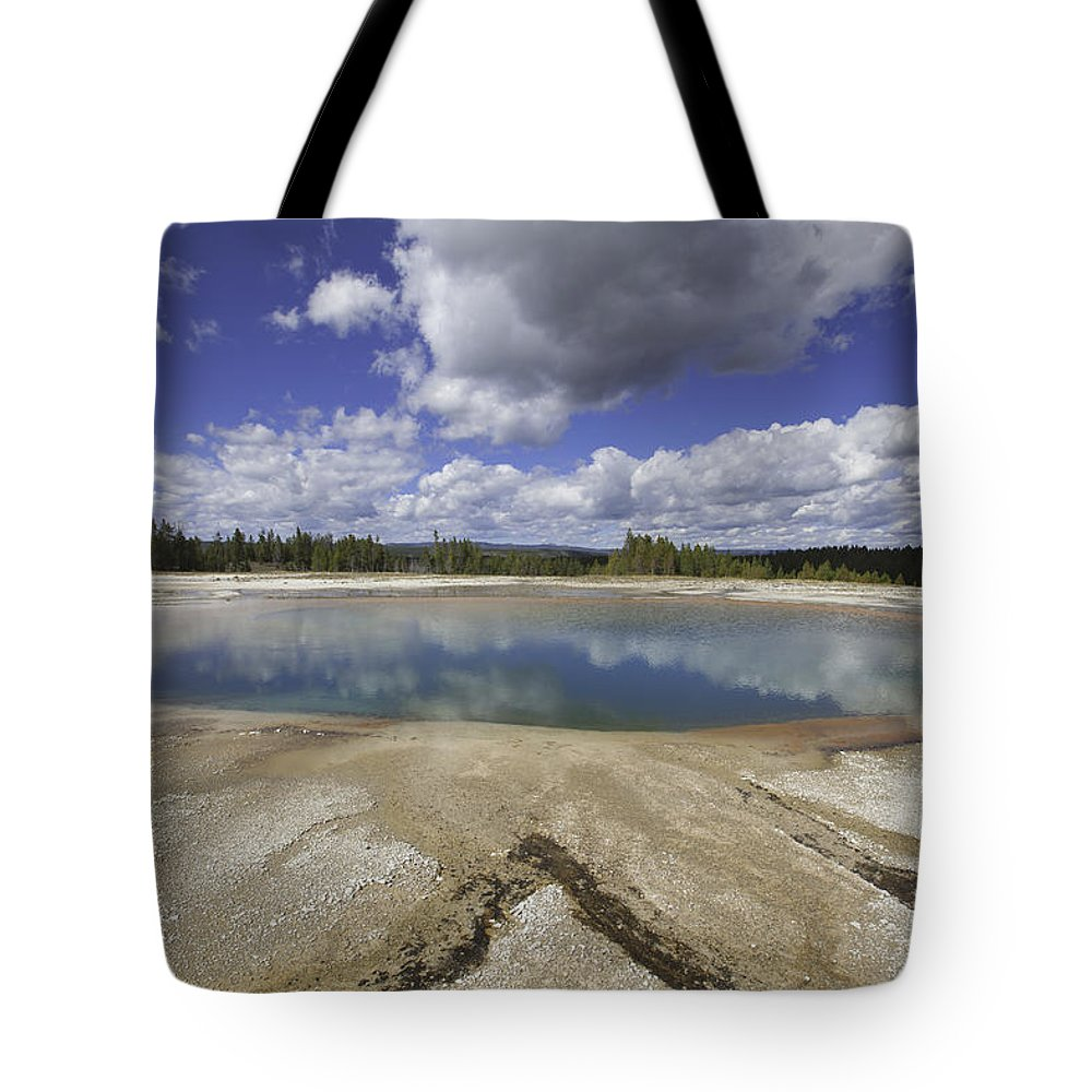Turquoise Pool Tote Bag featuring the photograph Turquoise Pool In Yellowstone National Park by Fran Riley