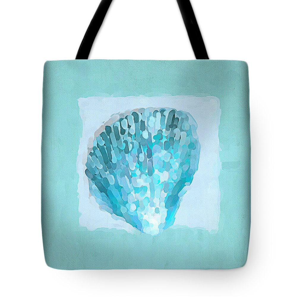 Seashell Tote Bag featuring the painting Turquoise Seashells Vii by Lourry Legarde