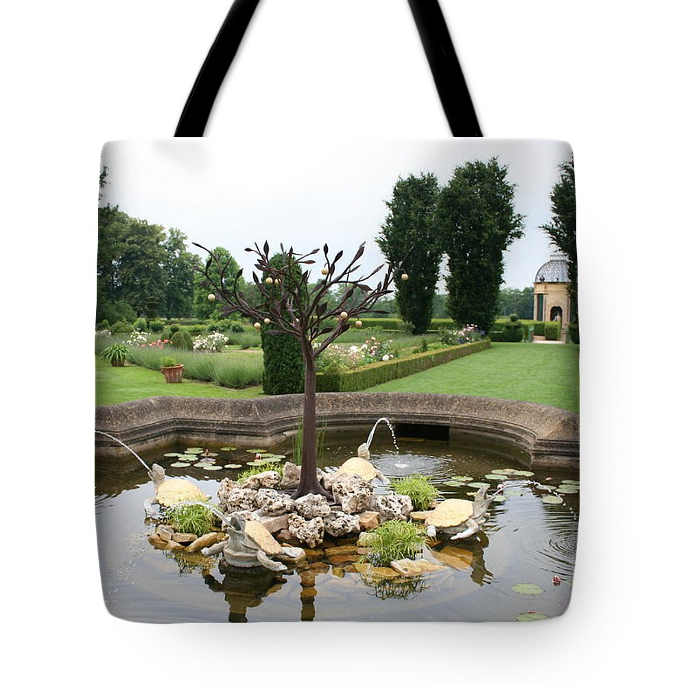 Fountain Tote Bag featuring the photograph Turtle Fountian And Garden Chateau De Cormatin by Christiane Schulze Art And Photography