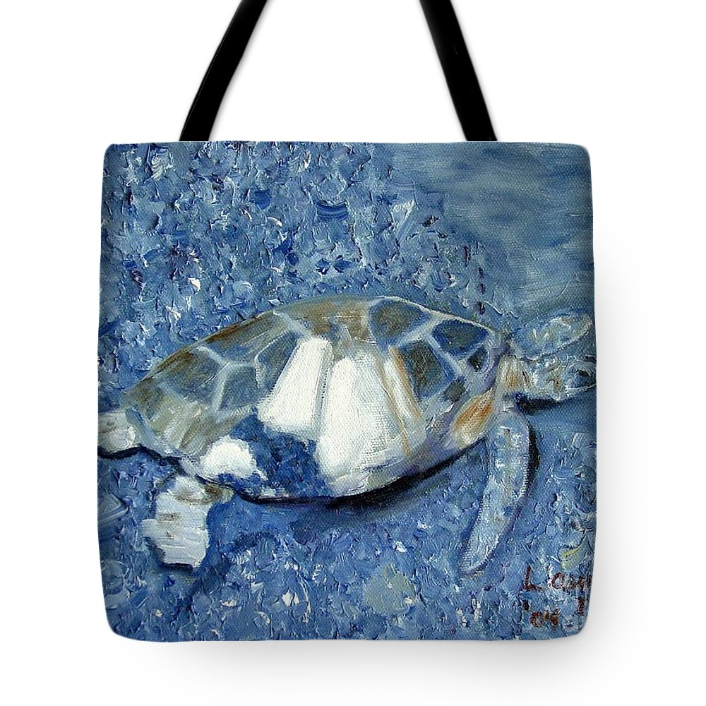 Turtle Tote Bag featuring the painting Turtle On Black Sand Beach by Laurie Morgan