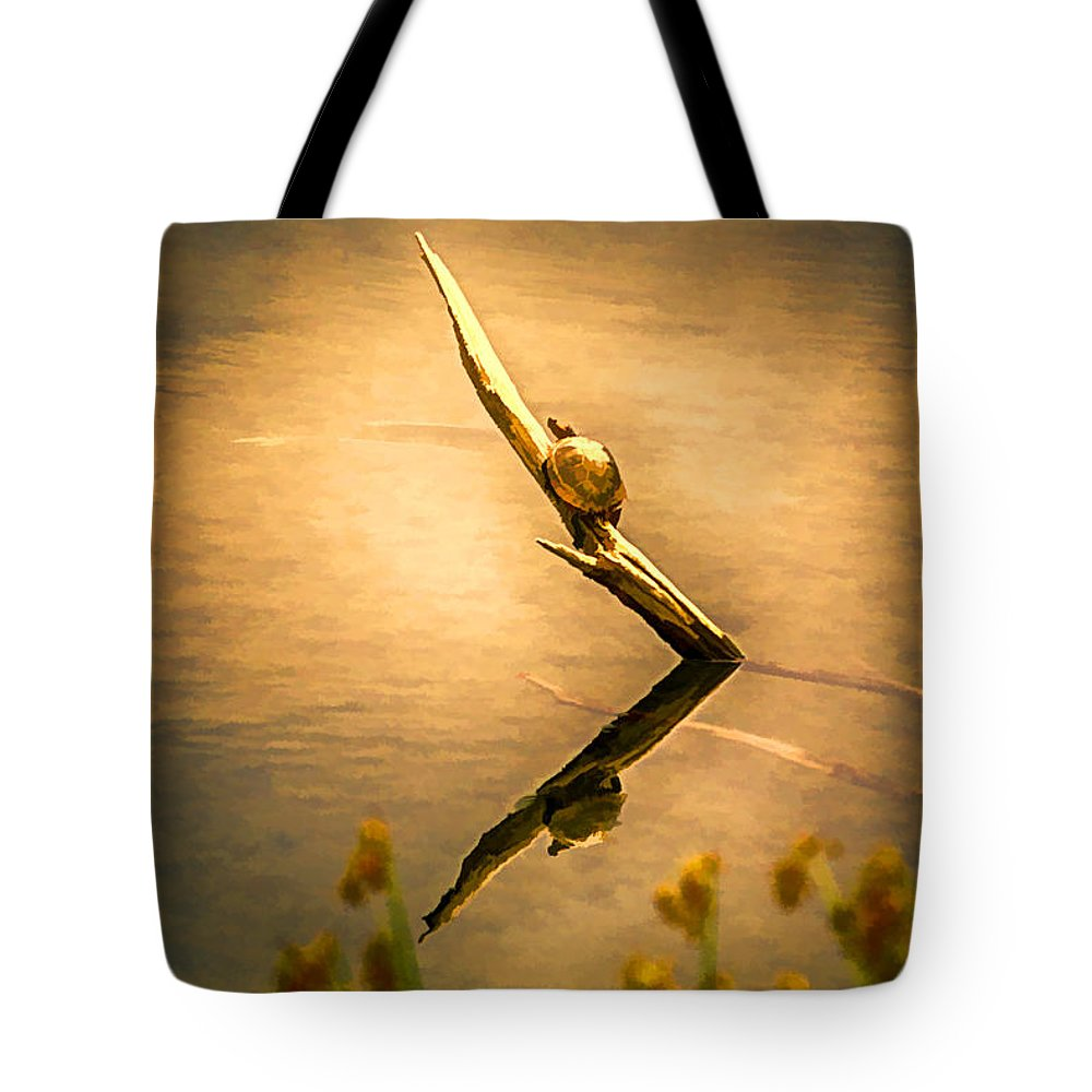 Turtle Tote Bag featuring the painting Turtle On Golden Pond by John Haldane