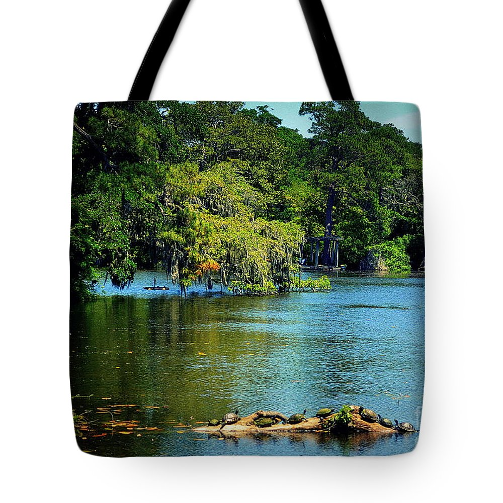 Turtles Tote Bag featuring the photograph Turtles On A Log Arlie Lake by Amy Lucid