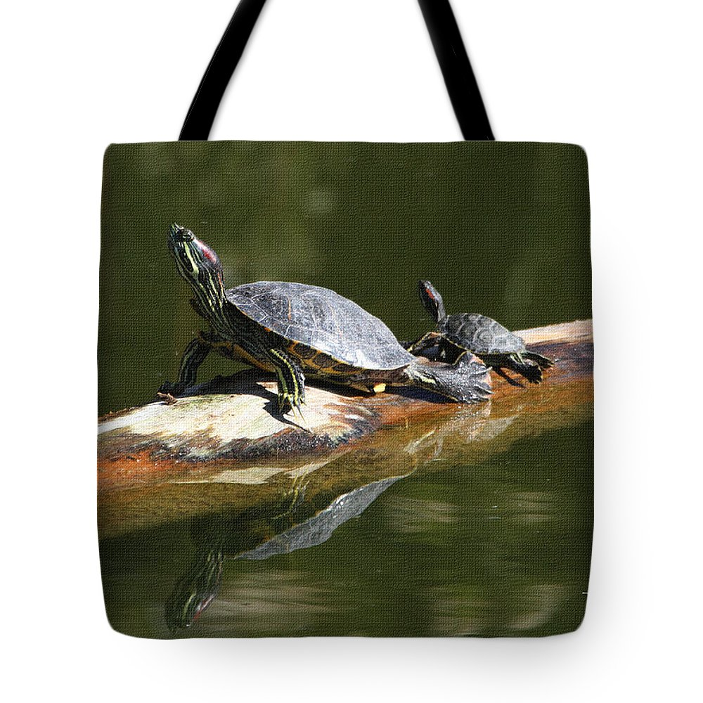 Turtles Tote Bag featuring the photograph Turtles by Tom Janca