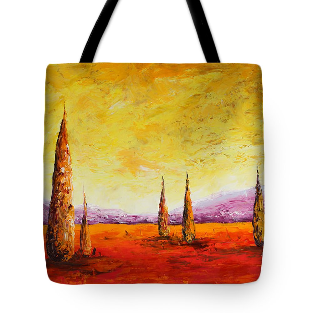 Trees Tote Bag featuring the painting Tuscan Blast by Andrew Sanan