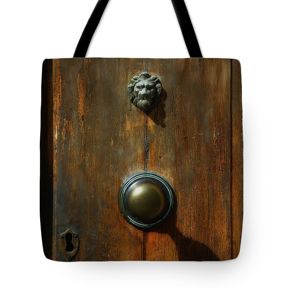 Tuscany Tote Bag featuring the photograph Tuscan Doorknob by Mike Nellums