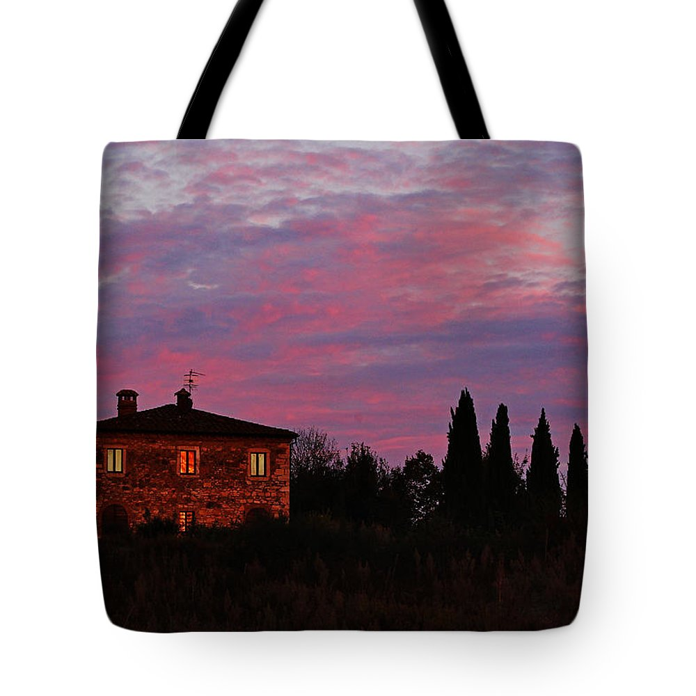Tuscany Tote Bag featuring the photograph Tuscan Farmhouse And Morning Glow by Greg Matchick