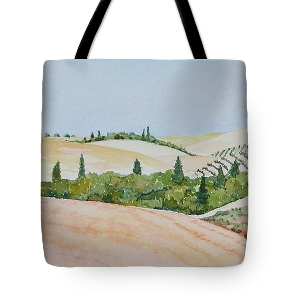 Landscape Tote Bag featuring the painting Tuscan Hillside One by Mary Ellen Mueller Legault