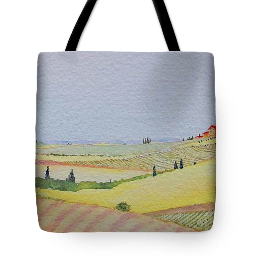 Watercolor Tote Bag featuring the painting Tuscan Hillside Three by Mary Ellen Mueller Legault