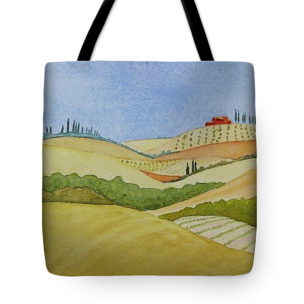 Italy Tote Bag featuring the painting Tuscan Hillside Two by Mary Ellen Mueller Legault