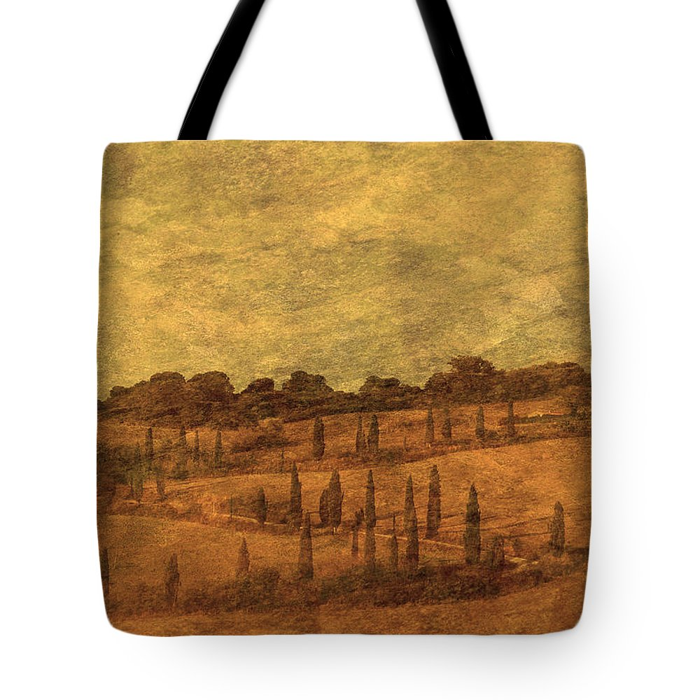 Tuscany Tote Bag featuring the photograph Landscape And Winding Road With Cypress Trees by Greg Matchick