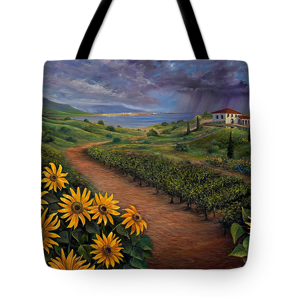 Sunflower Tote Bag featuring the painting Tuscan Landscape by Claudia Goodell