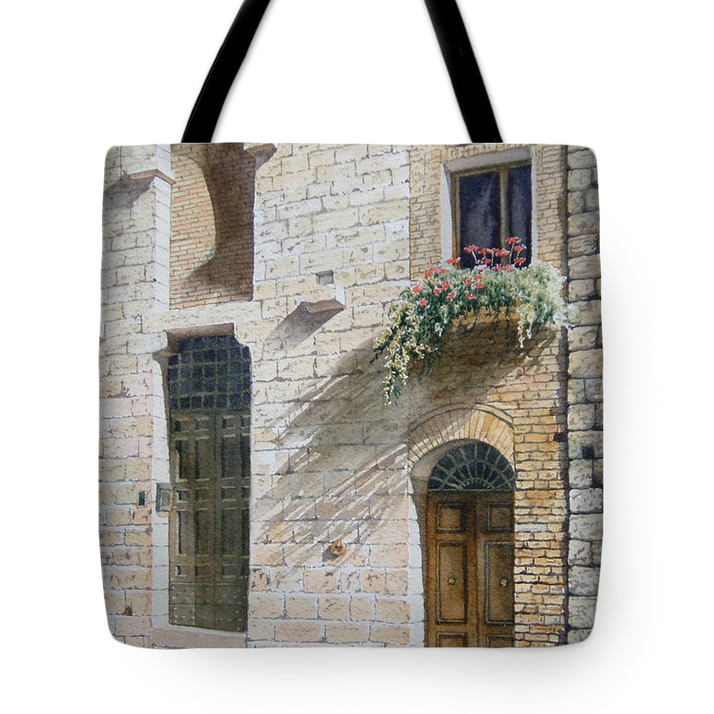 Watercolor Tote Bag featuring the painting Tuscan Rhythms by Karen Richardson
