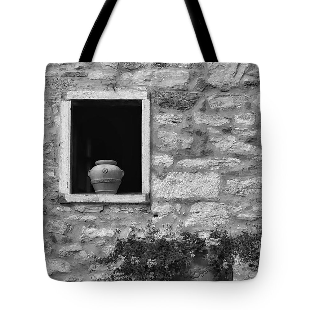 Tuscany Tote Bag featuring the photograph Tuscan Window And Pot by Mike Nellums