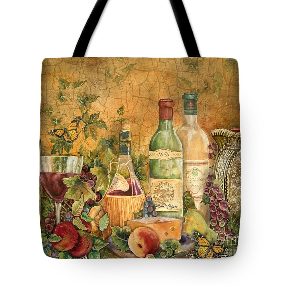 Acrylic Painting Tote Bag featuring the painting Tuscan Wine Treasures by Jean Plout