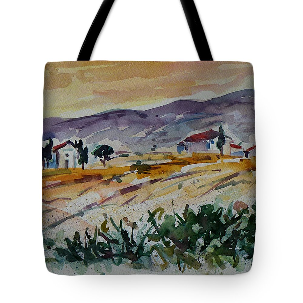 Landscape Tote Bag featuring the painting Tuscany Landscape 1 by Xueling Zou