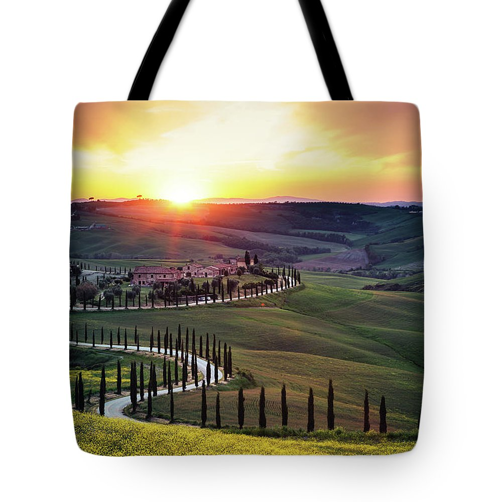 Scenics Tote Bag featuring the photograph Tuscany Landscape At Sunset by Borchee