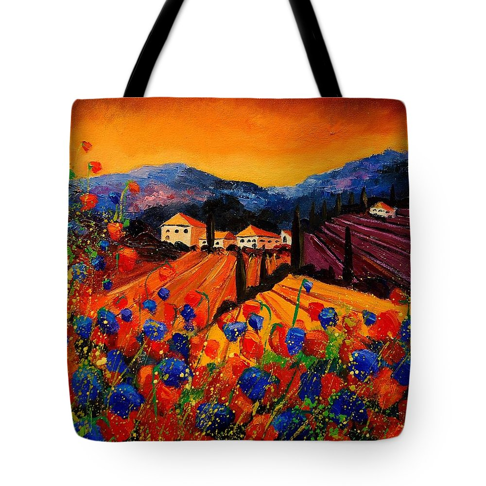 Poppies Tote Bag featuring the painting Tuscany Poppies by Pol Ledent