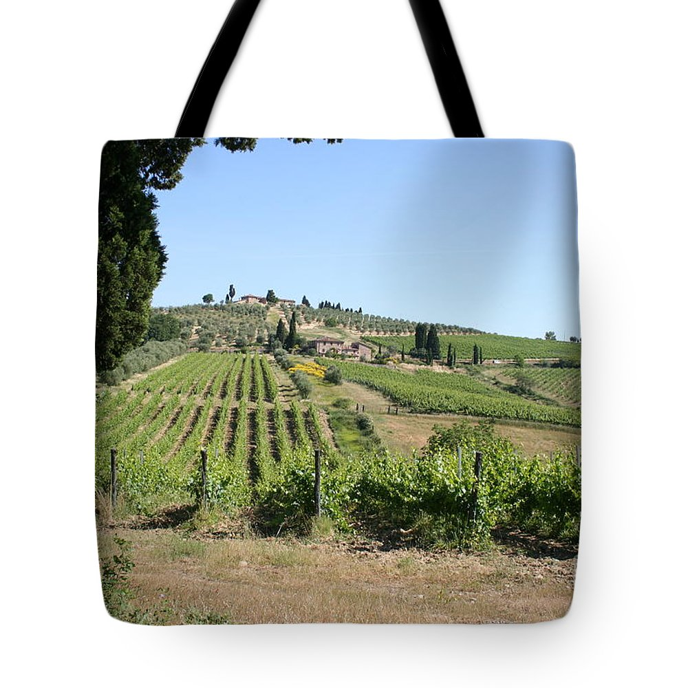 Vineyard Tote Bag featuring the photograph Tuscany Vineyard II by Christiane Schulze Art And Photography