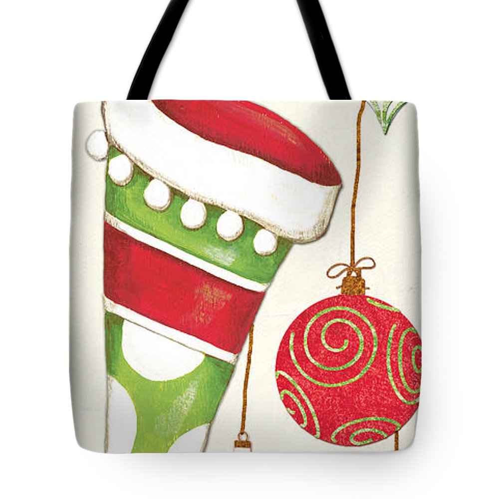 Christmas Tote Bag featuring the painting Twas The Night... by Debbie DeWitt