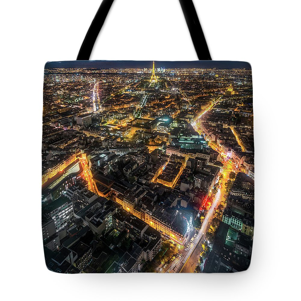 Tranquility Tote Bag featuring the photograph Twilight City View Of Paris by Coolbiere Photograph