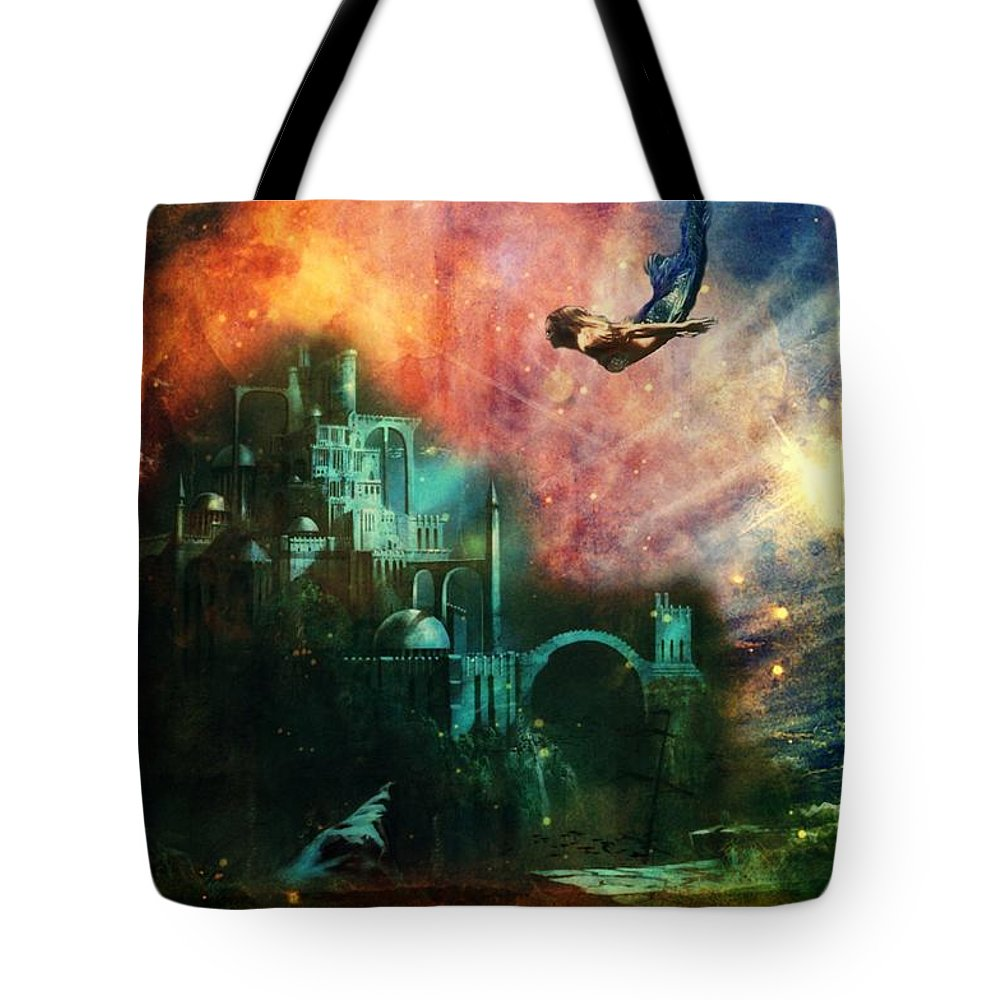 Forest Tote Bag featuring the mixed media Twilight Grotto by Leah Moore