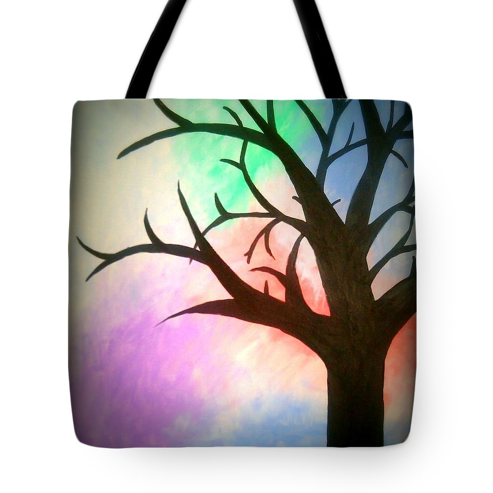 Tree Tote Bag featuring the painting Twilight by Lynn Williams