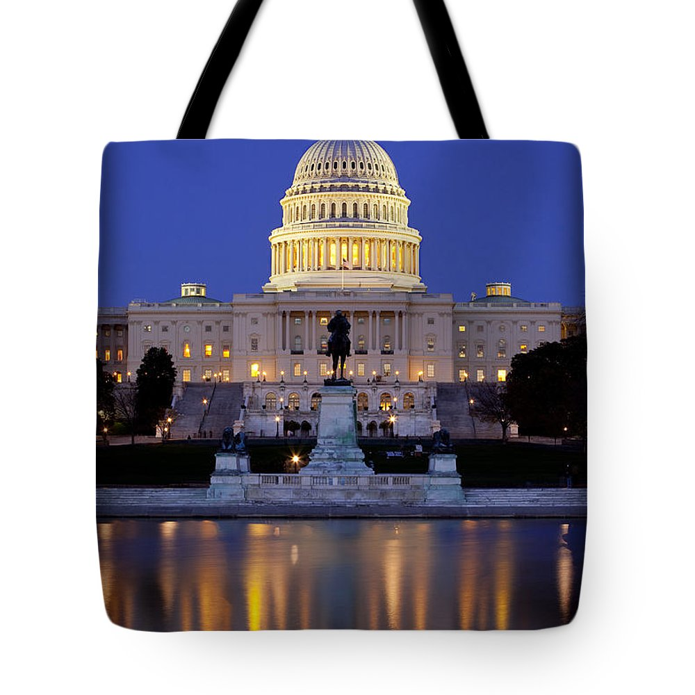 Capital Tote Bag featuring the photograph Twilight Over Us Capitol by Brian Jannsen