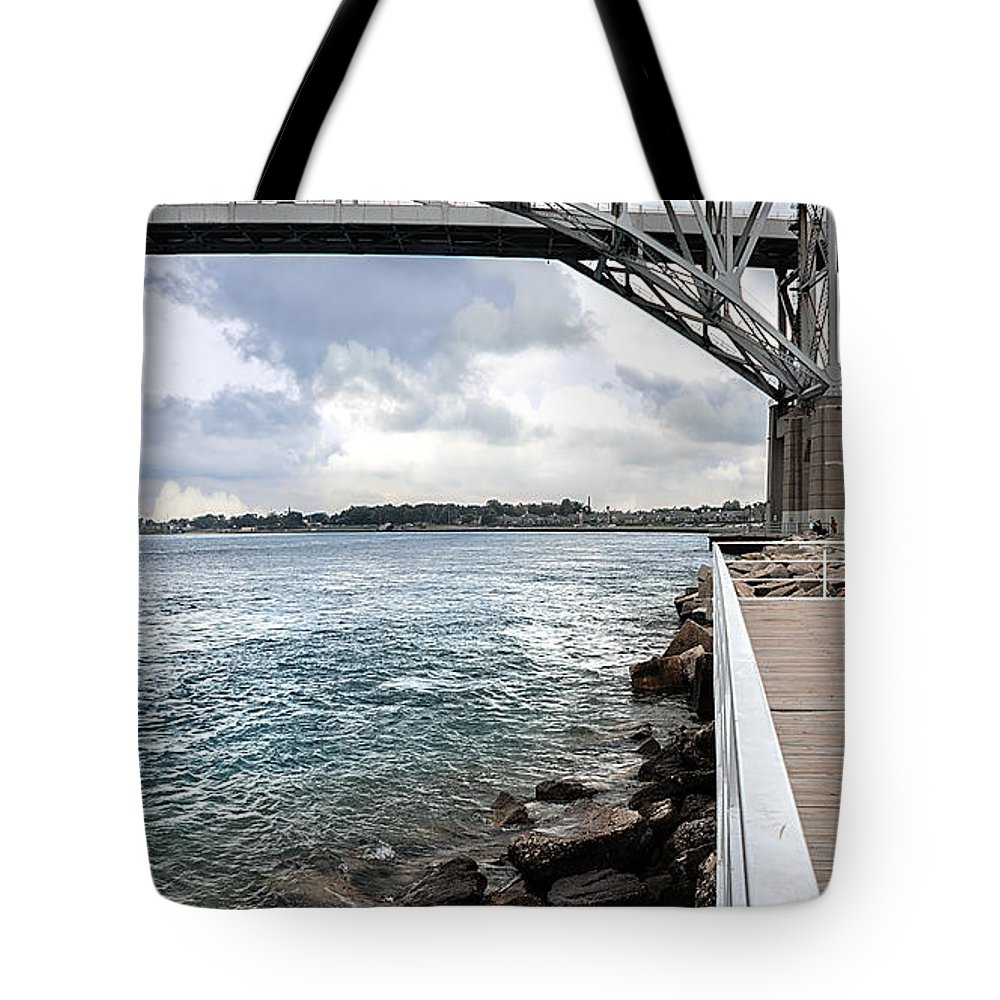 Sarnia Tote Bag featuring the photograph Twin Bridges Over Blue Water by LeeAnn McLaneGoetz McLaneGoetzStudioLLCcom