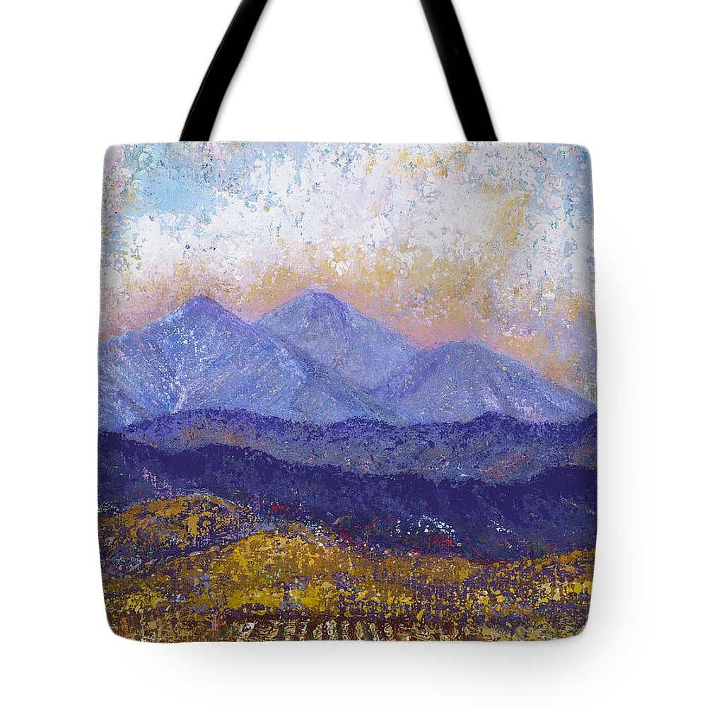 Landscape Tote Bag featuring the painting Twin Peaks Above The Fruited Plain by Margaret Bobb