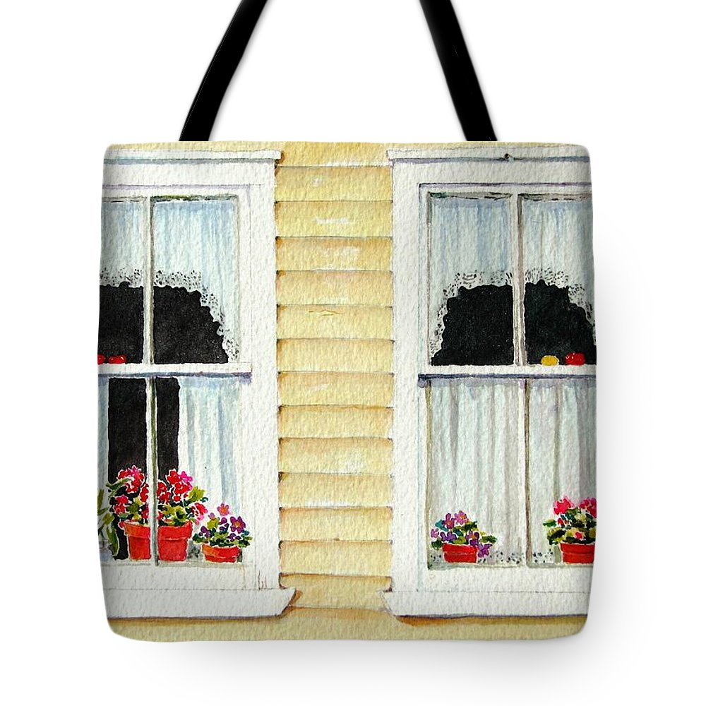 Windows Tote Bag featuring the painting Twin Peeks by Mary Ellen Mueller Legault