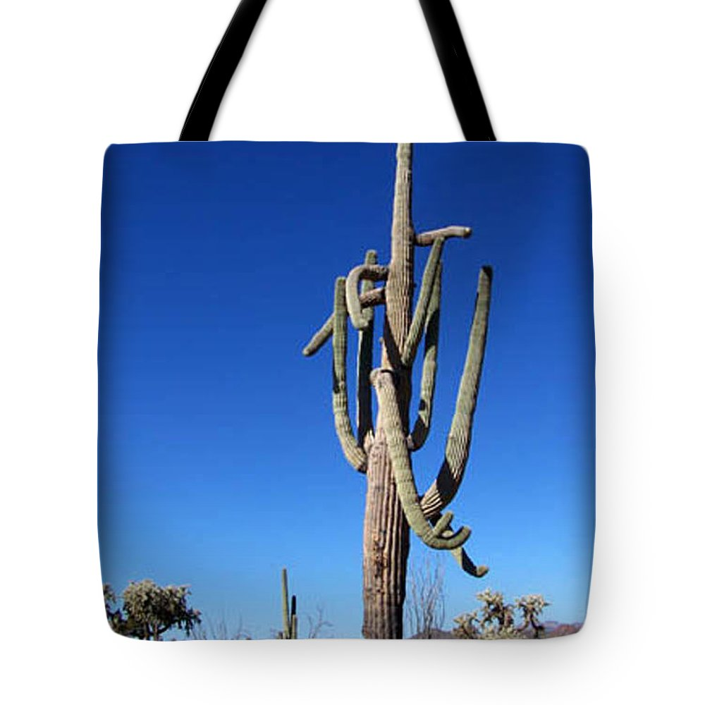 Sahuaro Tote Bag featuring the photograph Twisted Sentinal by Kathy McClure